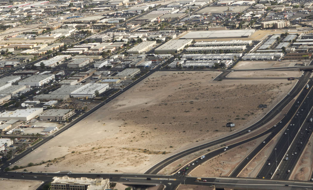 An aerial view of the Raiders stadium site on Russell Road in Las Vegas on Wednesday, July 26. Heidi Fang Las Vegas Review-Journal @HeidiFang