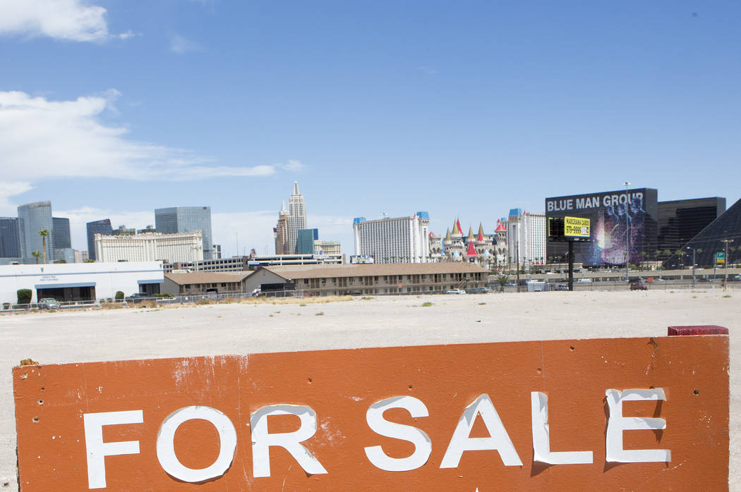 An investment group bought a 2.5-acre parcel across from the Raiders stadium site at the northeast corner of Hacienda avenue and Aldebaran avenue for $7 million, as seen on Friday, Aug. 11, 2017.