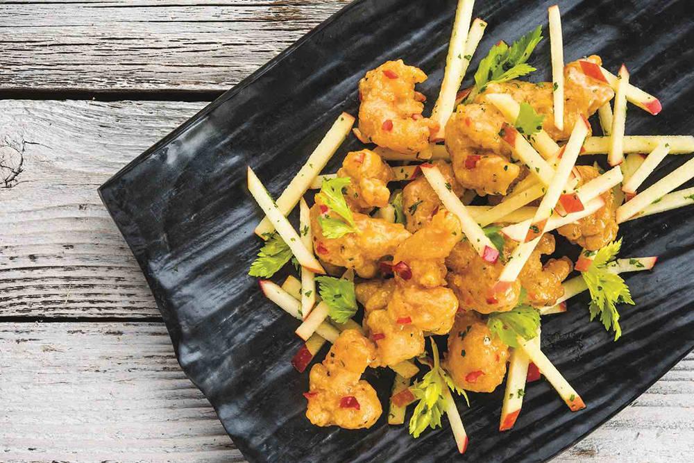 Crispy rock shrimp is a menu item at Top Golf. (Michael Baxter, Baxter Imaging LLC)
