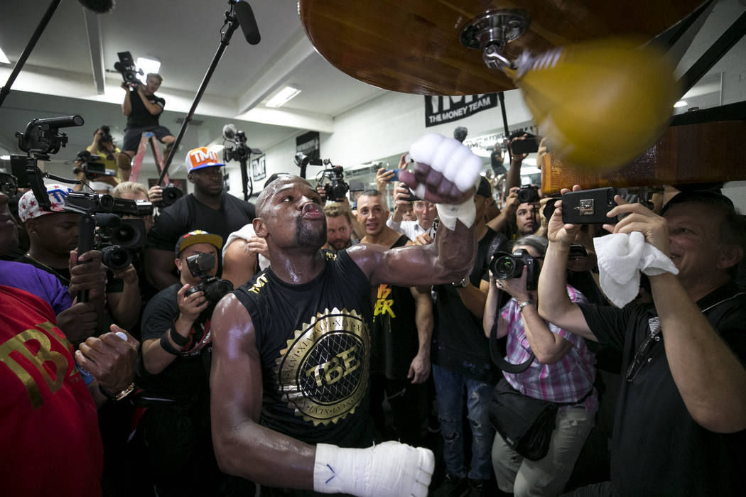 "Undefeated American boxer Floyd ""Money"" Mayweather Jr. works out for the media at his gym on Thursday, August 10, 2017, in Las Vegas. Mayweather is scheduled to fight Conor McGregor on August 26 a ..."