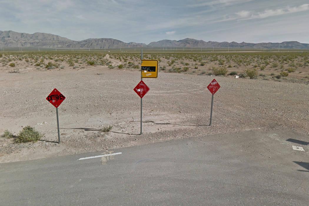 A desert lot near Statz Street and Rome Boulevard, near Centennnial Parkway and Pecos Road. Google Street View.