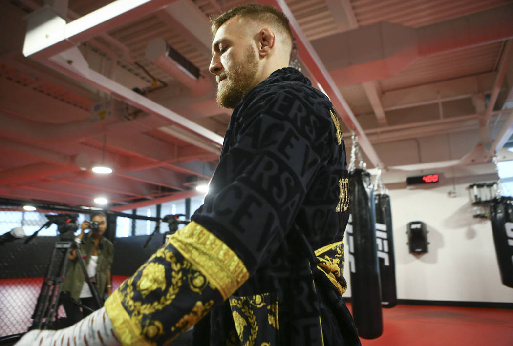 UFC fighter Conor McGregor before working out ahead of his boxing match against Floyd Mayweather Jr., slated for Aug. 26, at the UFC Performance Institute in Las Vegas on Friday, Aug. 11, 2017. Ch ...