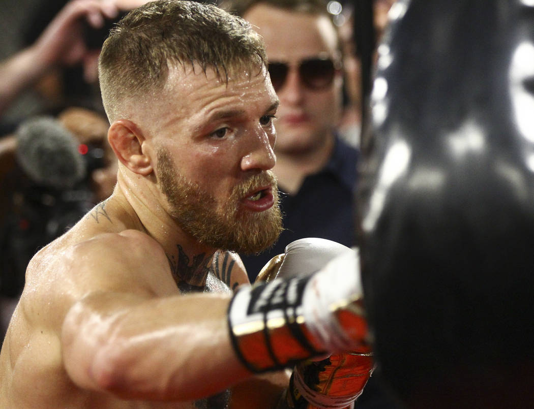 UFC fighter Conor McGregor works out ahead of his boxing match against Floyd Mayweather Jr., slated for Aug. 26, at the UFC Performance Institute in Las Vegas on Friday, Aug. 11, 2017. Chase Steve ...