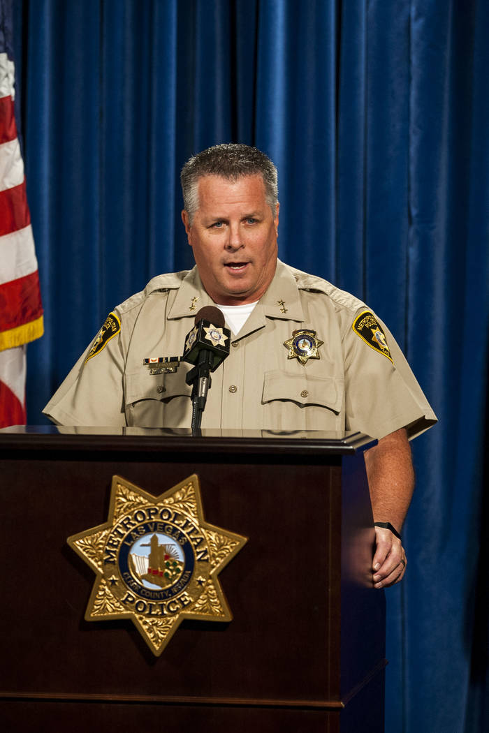 Assistant Sheriff Todd Fasulo gives a briefing on a recent officer-involved shooting, in which an armed, naked man was shot, on Tuesday, Aug. 8, 2017.  Patrick Connolly Las Vegas Review-Journal @P ...