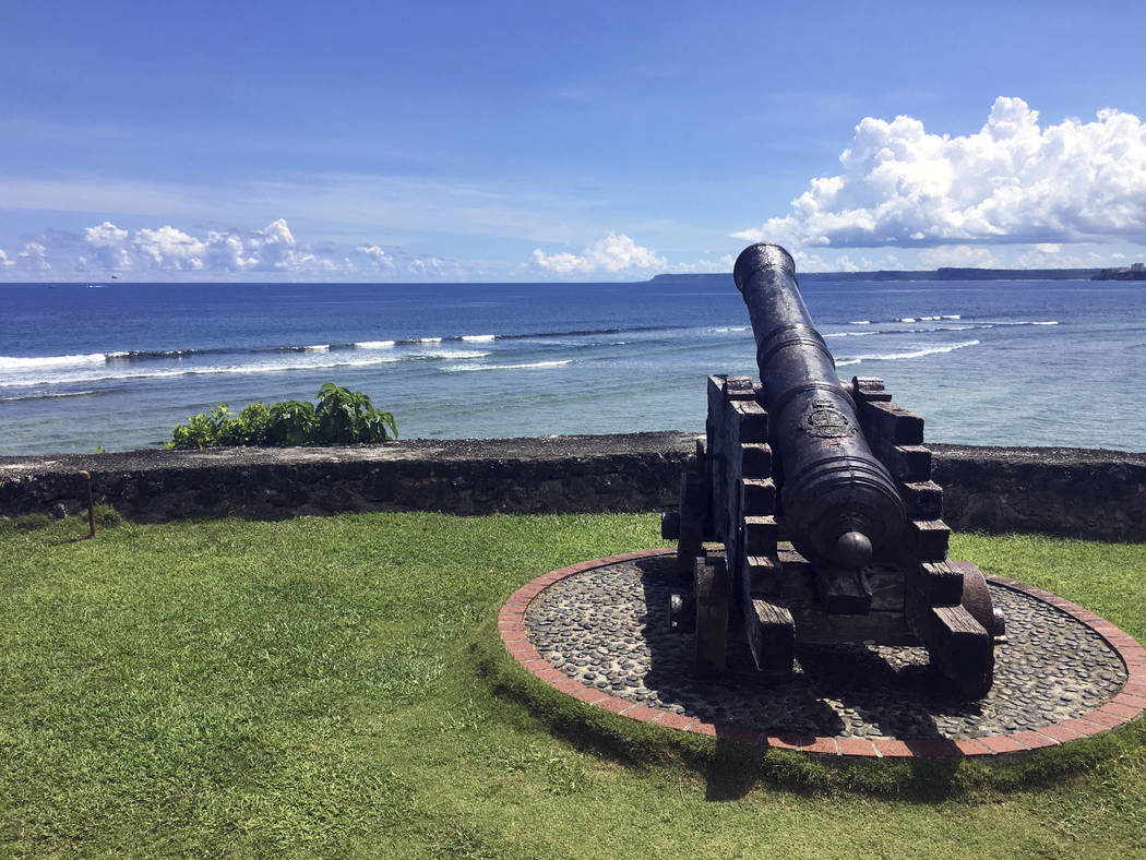 A replica of canons used by the Spanish from the Spanish occupation on Guam in the 19th century is seen outside of government offices in Hagatna, Guam on Friday morning, Aug. 11, 2017. The small U ...