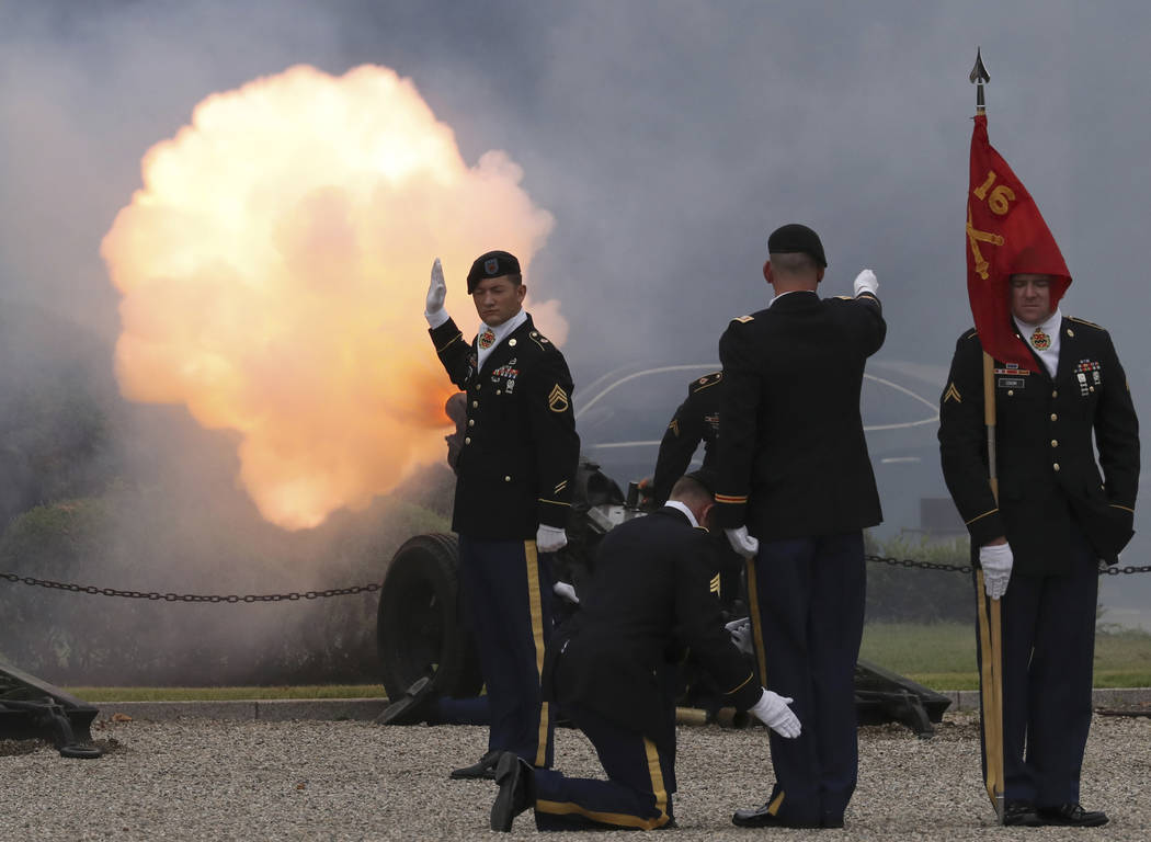 U.S. soldiers fire a salute during a change of command and change of responsibility ceremony for Deputy Commander of the South Korea-U.S. Combined Force Command at Yongsan Garrison, a U.S. militar ...