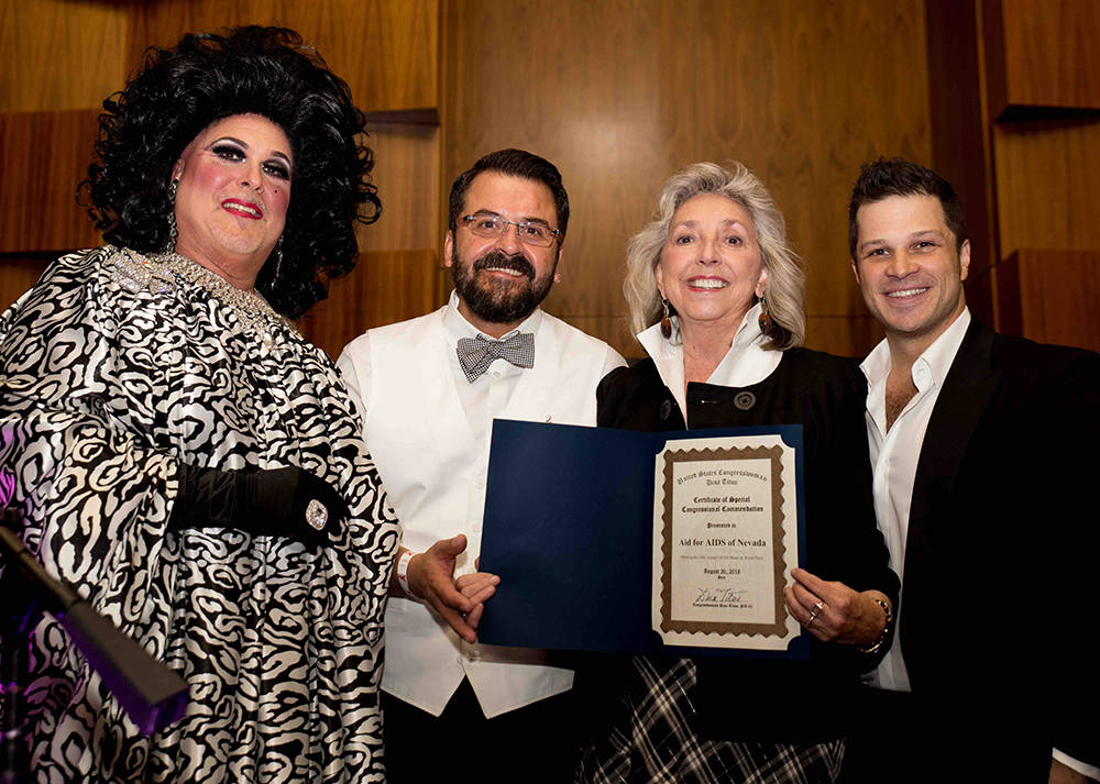 From left, Norma Llyman, Antioco Carrillo, Congresswoman Dina Titus and Mark Shunok. (Tony Harvey)