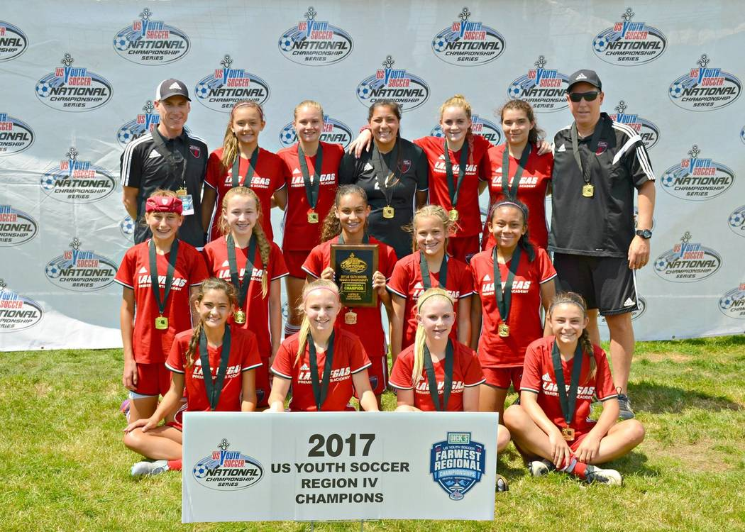 The Championship Winning 03 Girls Red Team Poses After Winning The United States Youth Soccer