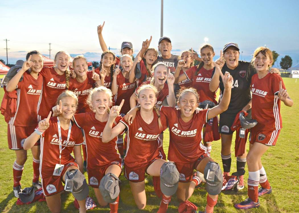 The championship-winning 03 Girls Red team poses after winning their final game during the United States Youth Soccer National Championships in July. (Courtesy of Las Vegas Premier Sports Academy)