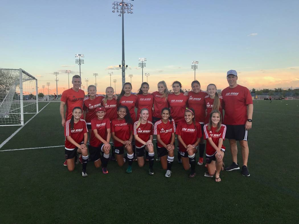 The championship-winning 03 Girls Red team poses during practice at Kellogg Zaher Sports Complex on Aug. 10. (Madelyn Reese/View) @MadelynGReese