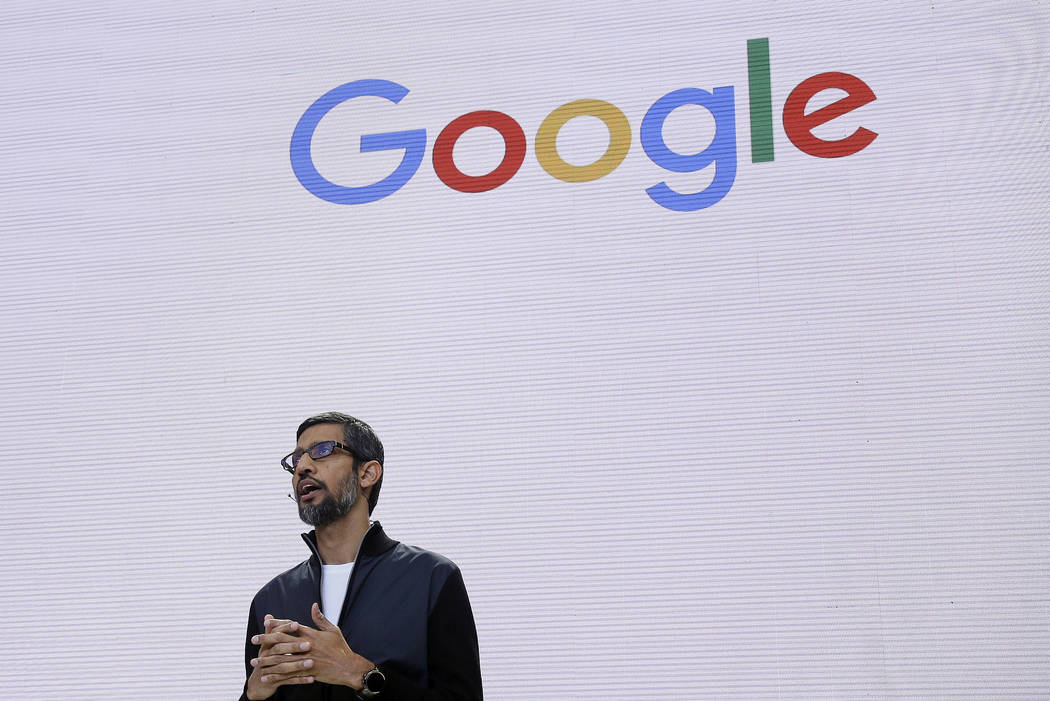Google CEO Sundar Pichai delivers the keynote address for the Google I/O conference in Mountain View, Calif., on May 17, 2017. (Eric Risberg/AP, File)