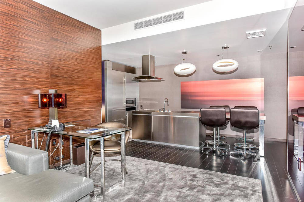 A kitchen in one of the Palms Place unit on Flamingo Road. (Palms Place)