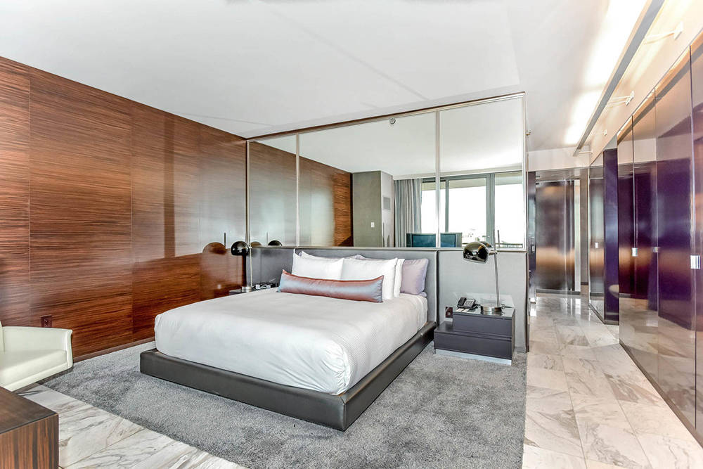 The master bedroom in one of the Palms Place unit on Flamingo Road. (Palms Place)