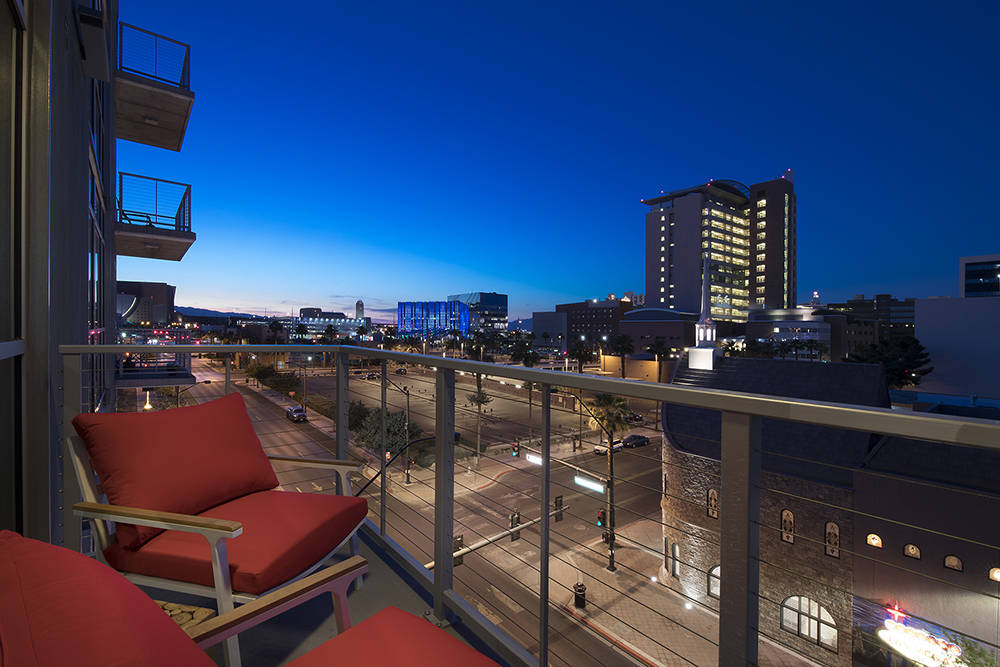 A Juhl balcony view of downtown Las Vegas. (Juhl)