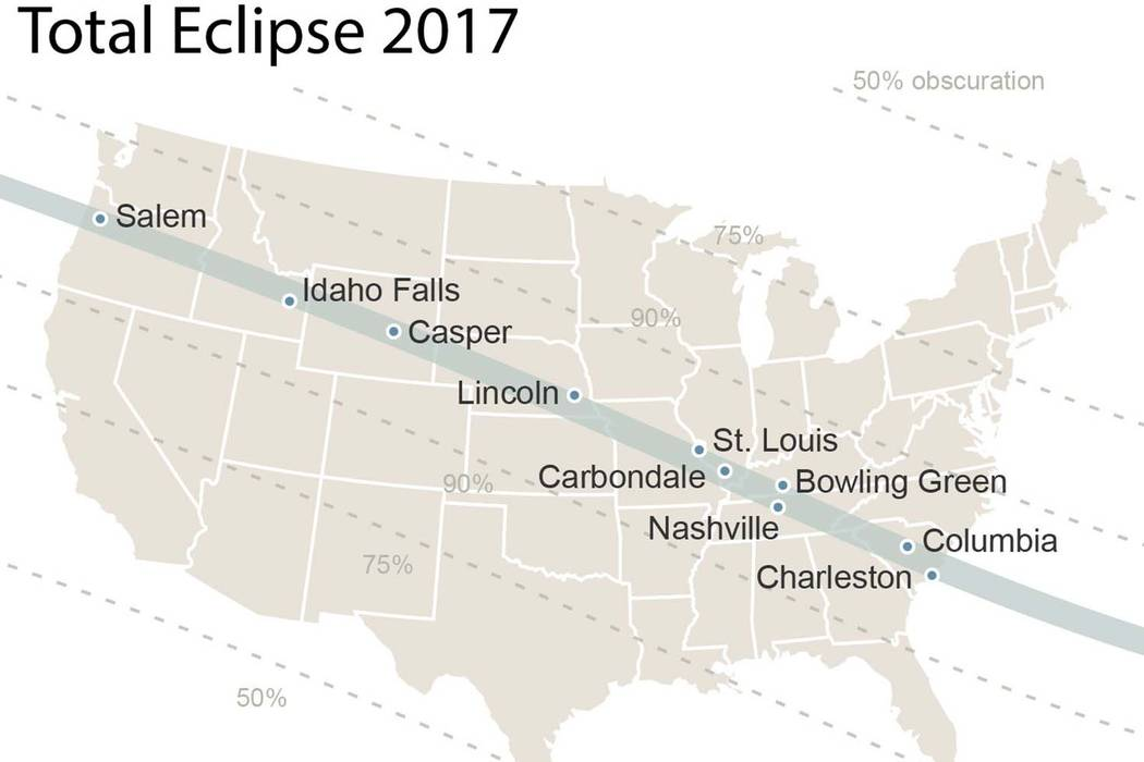 Path of the 2017 solar eclipse across the United States, which will occur on Aug. 21. (AP)