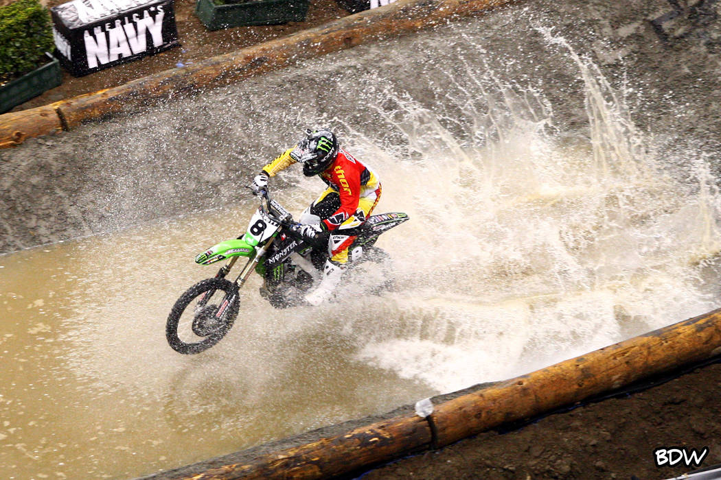 Destry Abbott competes in the water element at an EnduroCross Racing event. (EnduroCross)