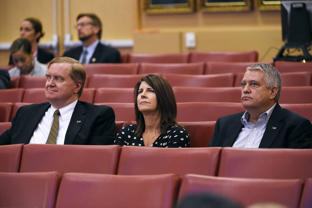 Las Vegas Convention and Visitors Authority legal counsel Luke Pushnig, LVCVA Chief Financial Officer Rana Lacer and LVCVA Senior Vice President for Operations Terry Jicinsky listen to a presentat ...