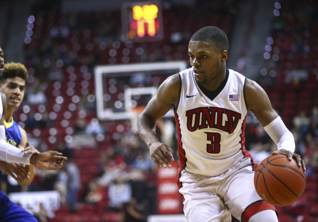 UNLV forward Tyrell Green (3) drives against San Jose State during a basketball game at the Thomas & Mack Center in Las Vegas on Saturday, Feb. 11, 2017. (Chase Stevens/Las Vegas Review-Journa ...