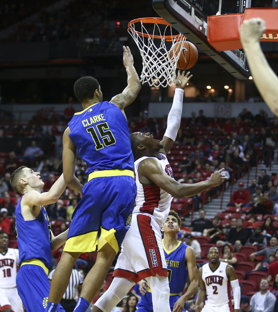 UNLV forward Tyrell Green (3) attempts a shot against San Jose State forward Brandon Clarke (15) during a basketball game at the Thomas & Mack Center in Las Vegas on Saturday, Feb. 11, 2017. S ...