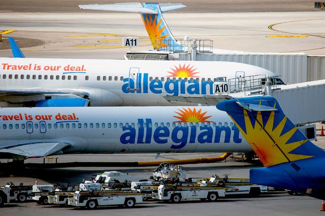Allegiant Airlines planes sit on the tarmac at McCarran International Airport. (Jeff Scheid/Las Vegas Review-Journal) @jlscheid