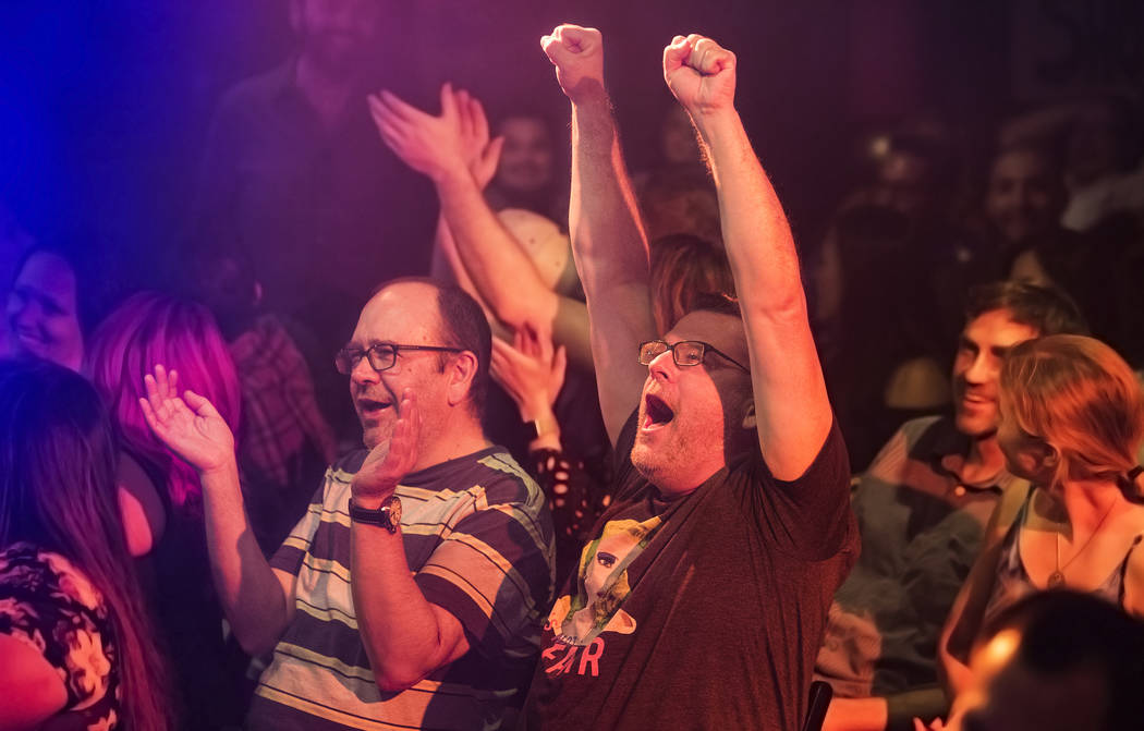 iPhone owners cheer after scoring a point during The Miss Behave Gameshow at The Back Room on Thursday, Aug 10, 2017, at Bally's hotel-casino, in Las Vegas. Benjamin Hager Las Vegas Review-Journal ...