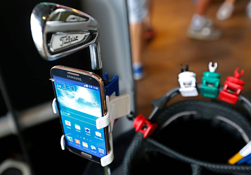 SelfieGOLF, cell phone clip system, is displayed during PGA 2017 Fashion & Demo Experience at Topgolf in Las Vegas, Monday, Aug. 14, 2017. (Chitose Suzuki/Las Vegas Review-Journal) @chitosephoto