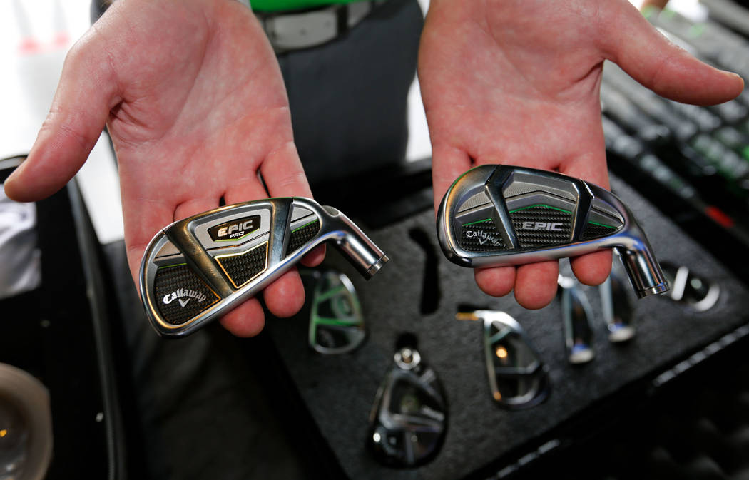 Jason Van Ryn of Callaway Golf shows their golf irons during PGA 2017 Fashion & Demo Experience at Topgolf in Las Vegas, Monday, Aug. 14, 2017. (Chitose Suzuki/Las Vegas Review-Journal) @chito ...