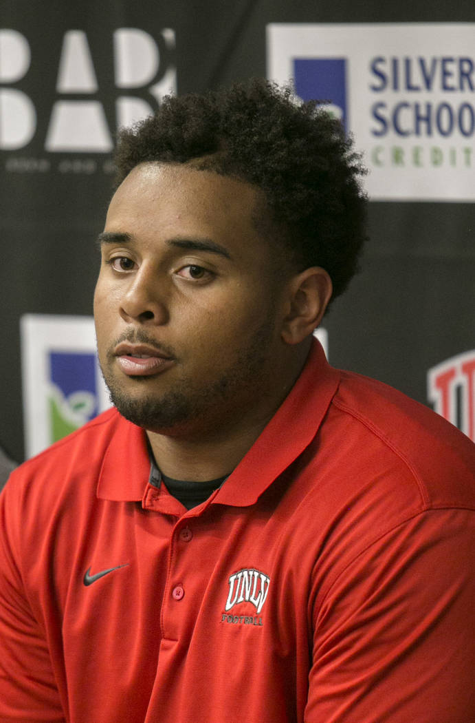 Defensive Lineman Hike Huges answers reporters' questions during a news conference at the University of Nevada, Las Vegas Las Vegas, on Tuesday, Aug. 29, 2017.  Gabriella Angotti-Jones Las Vegas R ...