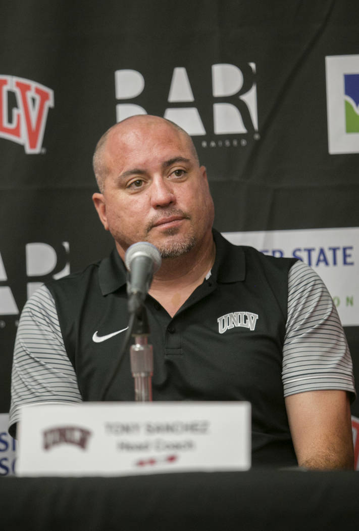 Head football coach Tony Sanchez answers reporters' questions during a news conference at the University of Nevada, Las Vegas Las Vegas, on Tuesday, Aug. 29, 2017.  Gabriella Angotti-Jones Las Veg ...