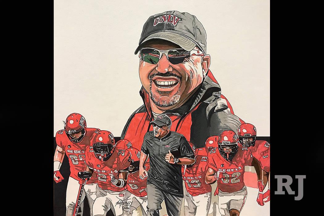 UNLV head football coach Tony Sanchez illustration. Neal Portnoy Las Vegas Review-Journal @NealPortnoy