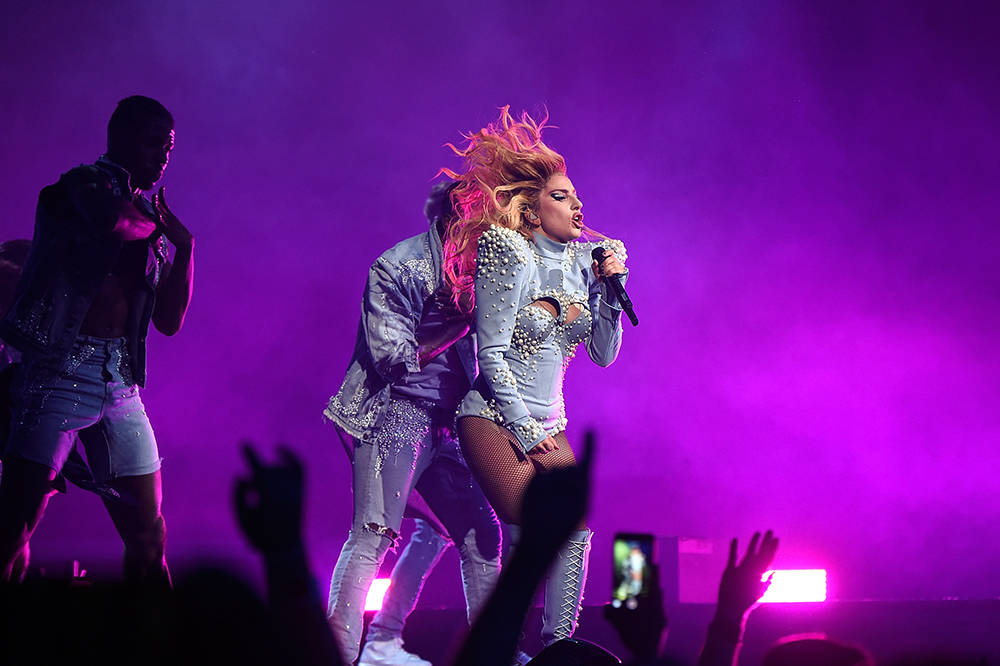 """Lady Gaga performs during her """"Joanne"""" world tour at Rogers Arena on Aug. 1 in Vancouver, Canada.  (Photo by Kevin Mazur/Getty Images for Live Nation)"""