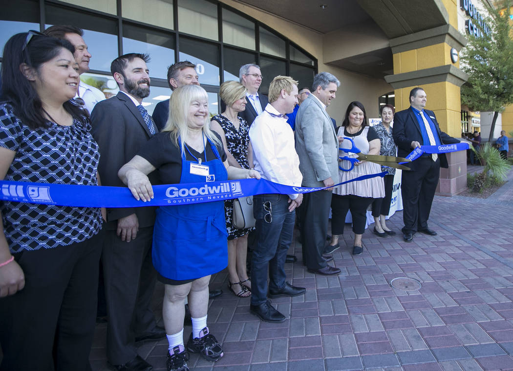 Staff, dignitaries, and invited guest cut the ribbon at a reopening event for the Goodwill store located at 9230 South Eastern Ave. in Las Vegas on Friday, June 2, 2017. Richard Brian Las Vegas Re ...