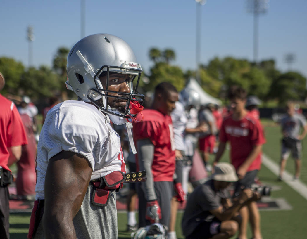 UNLV wide receiver Darren Palmer watches a scrimmage during football camp at Rebel Park on Monday, Aug. 14, 2017.  Patrick Connolly Las Vegas Review-Journal @PConnPie