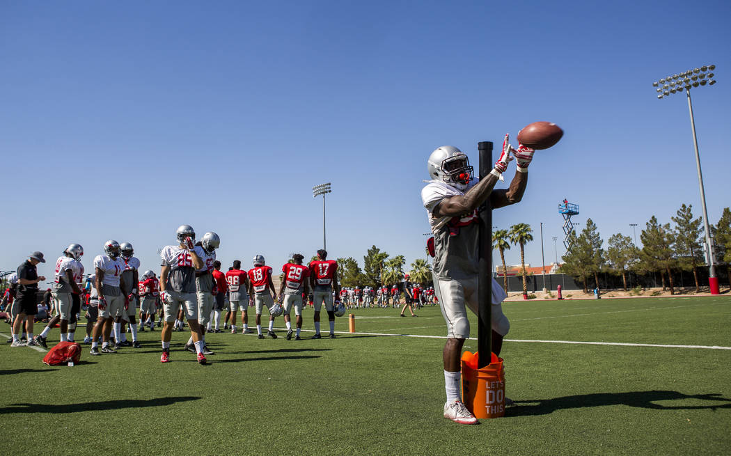 UNLV wide receiver Darren Palmer practices catching during football camp at Rebel Park on Tuesday, Aug. 15, 2017.  Patrick Connolly Las Vegas Review-Journal @PConnPie