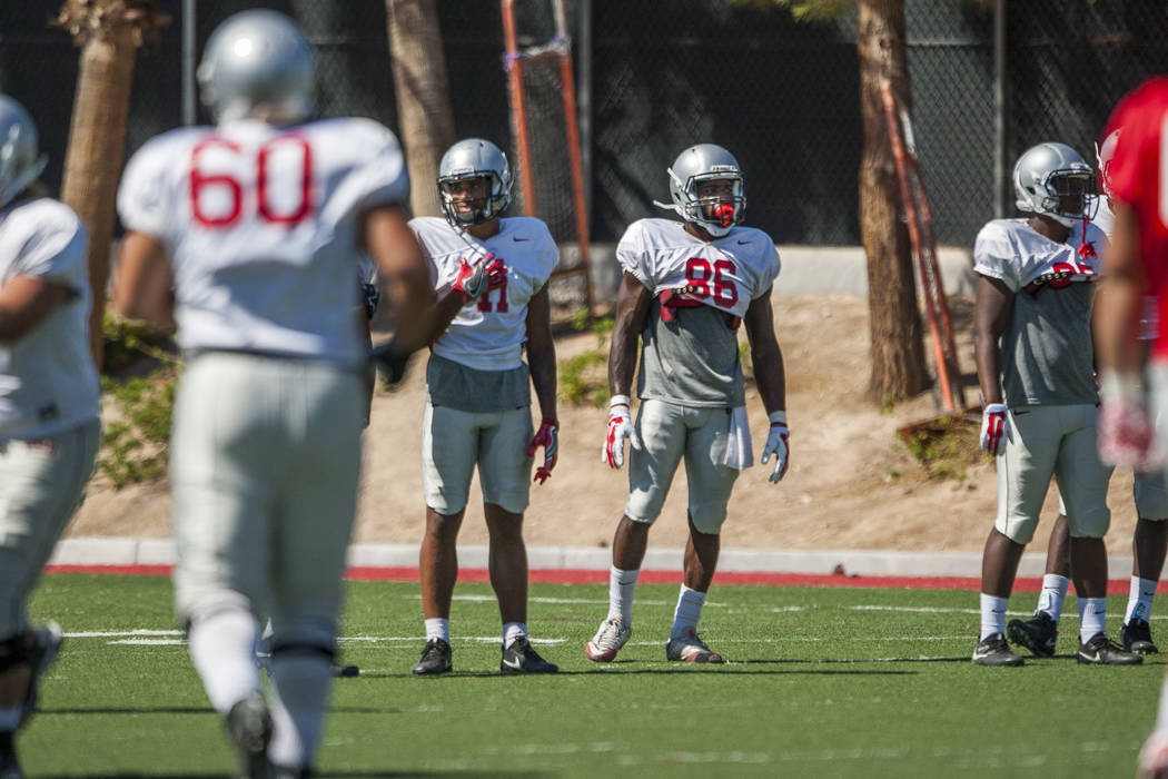 UNLV wide receiver Darren Palmer (#86) stands next to wide receiver Drew Tejchman (#11) during football camp at Rebel Park on Tuesday, Aug. 15, 2017.  Patrick Connolly Las Vegas Review-Journal @PC ...