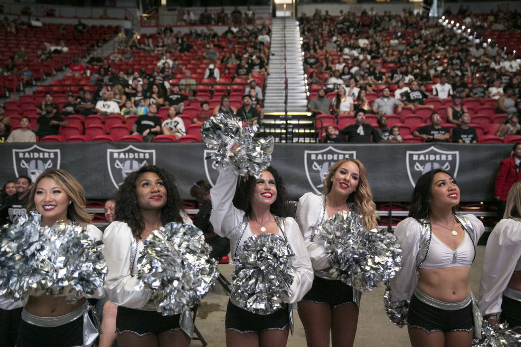 The Raiderettes Cheer Squad celebrates a play during the Raiders Watch Party at the Thomas and Mack Center in Las Vegas, Saturday, Aug. 12, 2017. Gabriella Angotti-Jones Las Vegas Review-Journal @ ...