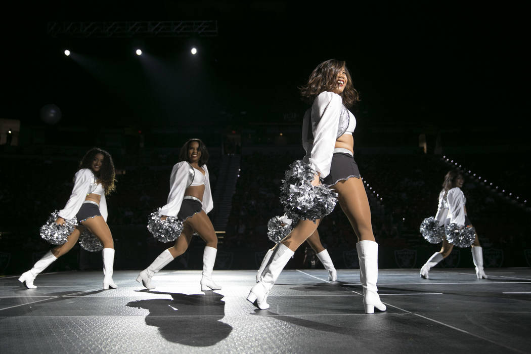 The Raiderettes Cheer Squad performs during the Raiders Watch Party at the Thomas and Mack Center in Las Vegas, Saturday, Aug. 12, 2017. Gabriella Angotti-Jones Las Vegas Review-Journal @gabriella ...