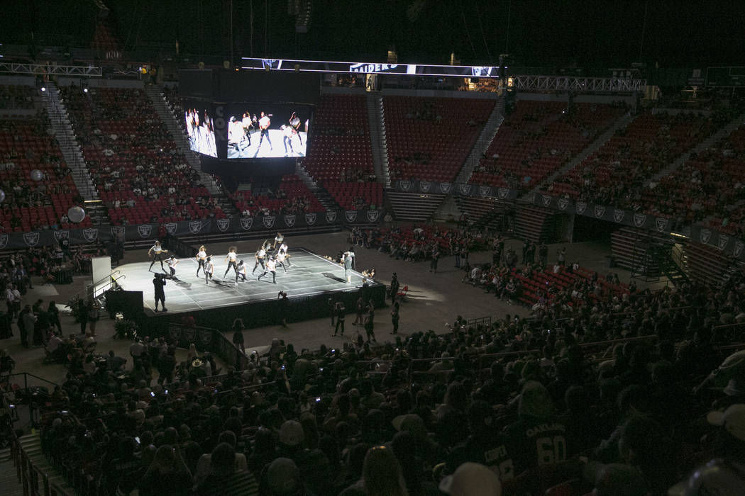 A local high school performs during the Raiders Watch Party at the Thomas and Mack Center in Las Vegas, Saturday,Aug. 12, 2017. Gabriella Angotti-Jones Las Vegas Review-Journal @gabriellaangojo