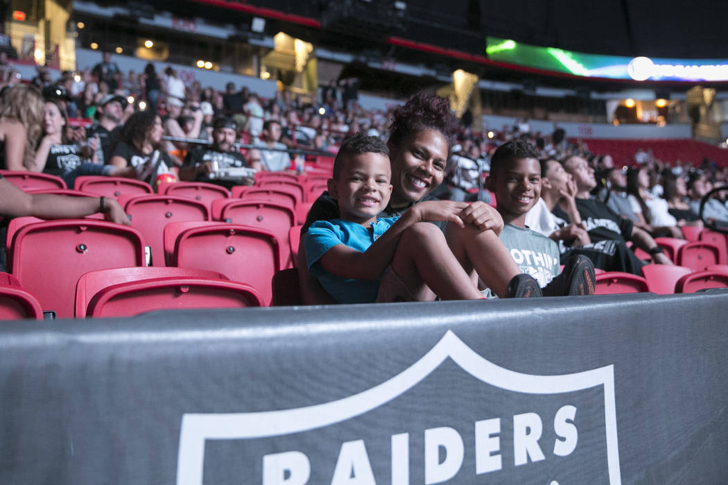 Fans during the Raiders Watch Party at the Thomas and Mack Center in Las Vegas, Saturday, Aug. 12, 2017. Gabriella Angotti-Jones Las Vegas Review-Journal @gabriellaangojo