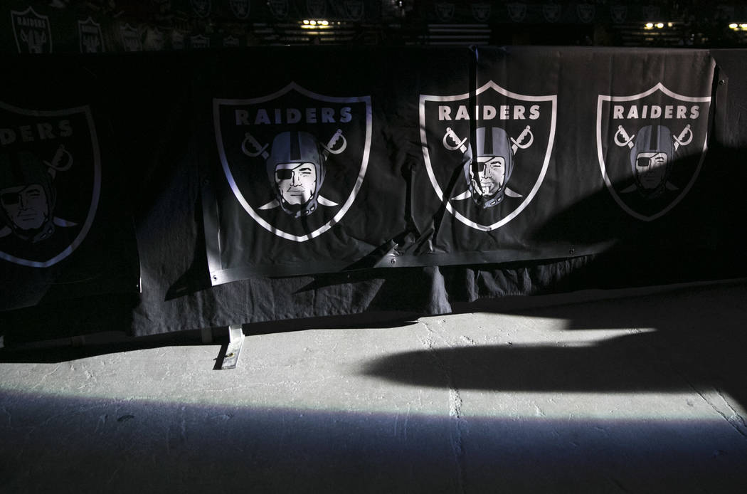 Light illuminates the Raiders logo during the first official watch party in Las Vegas at the Thomas and Mack Center in Las Vegas, Saturday, Aug. 12, 2017. Gabriella Angotti-Jones Las Vegas Review- ...