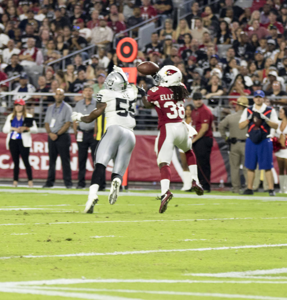 Oakland Raiders linebacker Marquel Lee defends a pass intended for Arizona Cardinals running back Andre Ellington during a NFL preseason game in Glendale, Ariz., on Saturday, August 19, 2017.  Hei ...