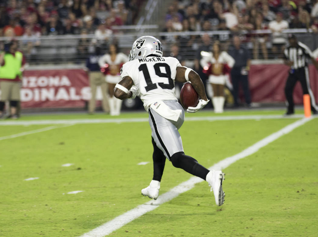 Oakland Raiders wide receiver Jaydon Mickens runs out of the end zone on a kickoff return against the Arizona Cardinals in Glendale, Ariz., on Saturday, August 19, 2017.  Heidi Fang Las Vegas Revi ...