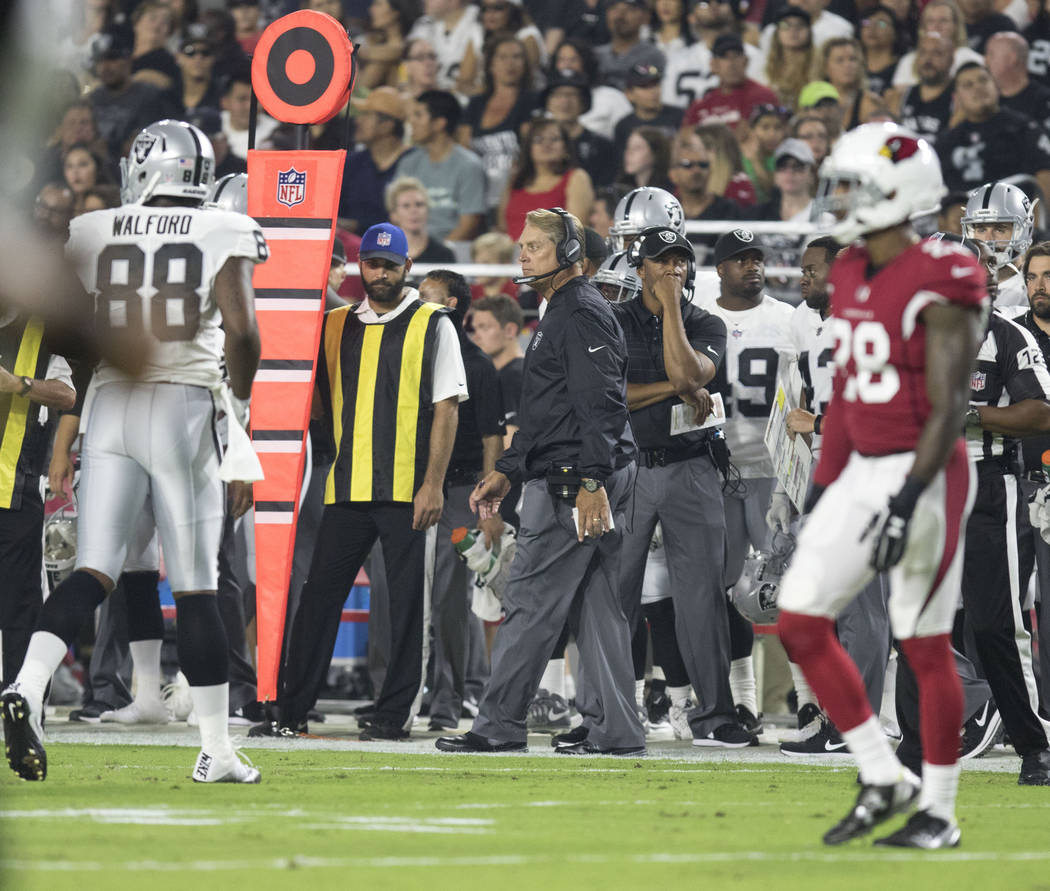 Oakland Raiders head coach Jack Del Rio on the sideline during the first quarter of a NFL preseason game against the Arizona Cardinals in Glendale, Ariz., on Saturday, Aug. 12, 2017. Heidi Fang La ...