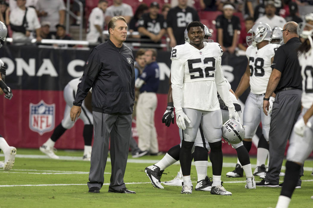 Oakland Raiders head coach Jack Del Rio, left, talks with defensive end Khalil Mack (52) during warm ups at a NFL preseason game against the Arizona Cardinals in Glendale, Ariz., on Saturday, Aug. ...