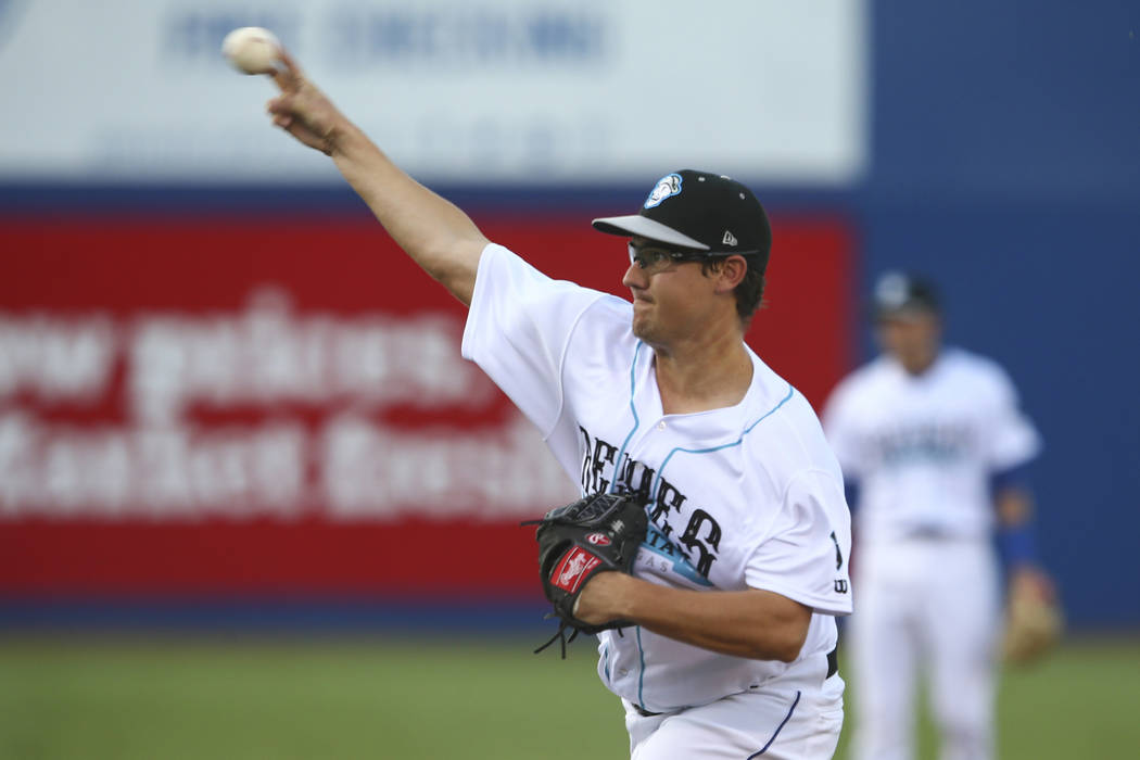 Ricky Knapp of the 51s pitches at Cashman Field in Las Vegas on Tuesday, Aug. 1, 2017. Chase Stevens Las Vegas Review-Journal @csstevensphoto