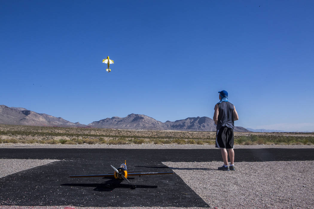 Scott Morgan flies his remote-controlled plane at the Las Vegas Soaring Club field near Red Rock Canyon on Sunday, Aug. 13, 2017. Morgan has been flying on and off since 1988.  Patrick Connolly La ...
