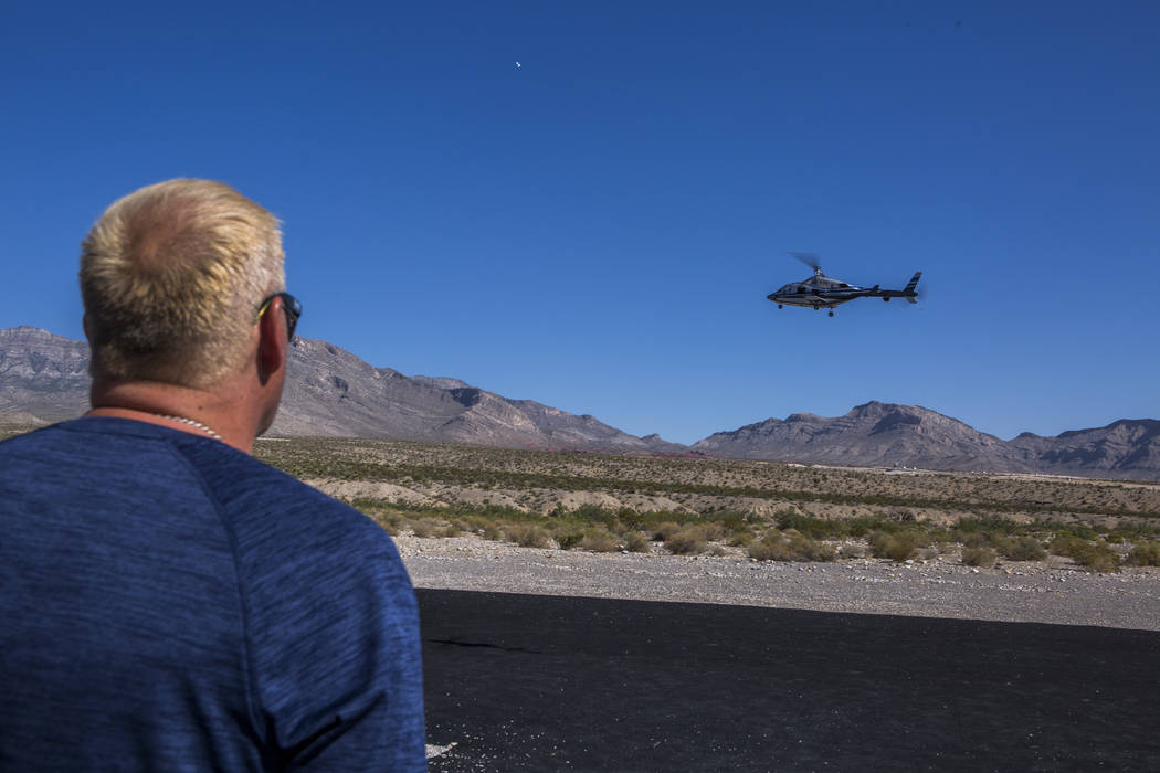 Barry Mattison, president of the Las Vegas Soaring Club, flies his remote-controlled helicopter at the club's field near Red Rock Canyon on Sunday, Aug. 13, 2017. Mattison has been flying since he ...