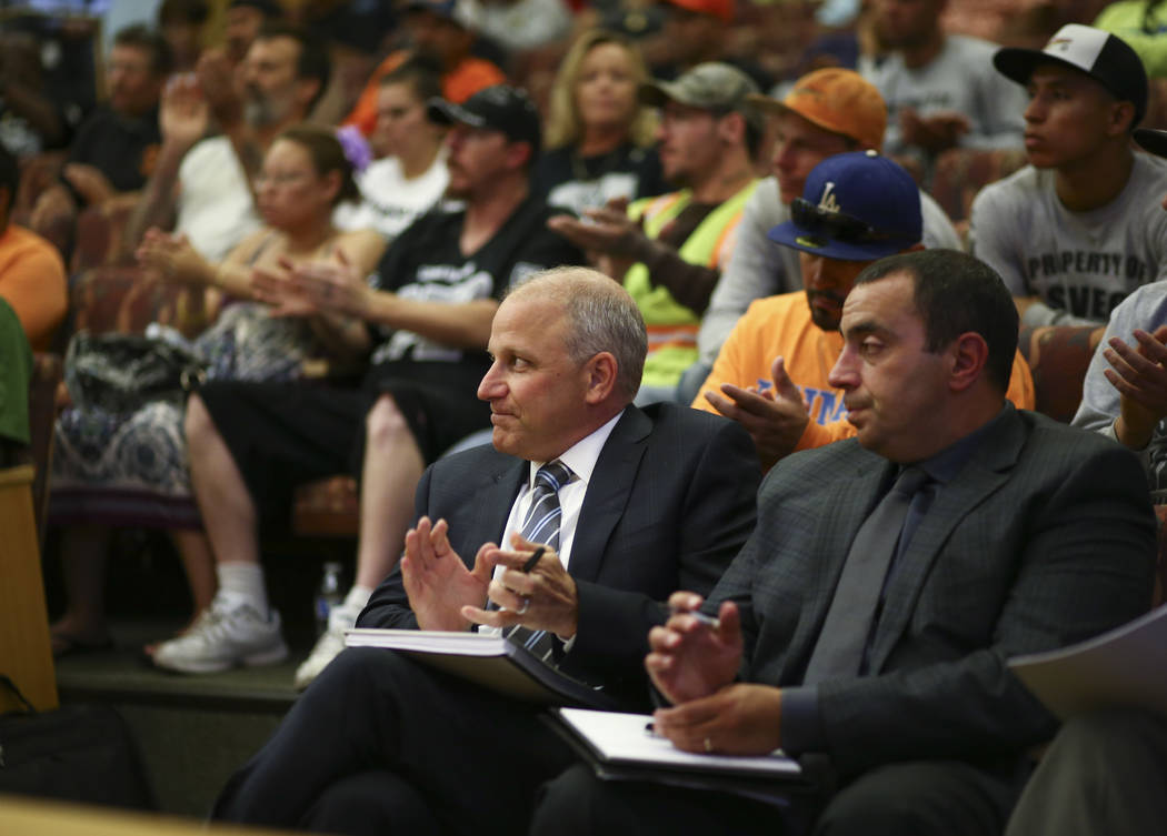 Oakland Raiders President Marc Badain, left, and and Dan Ventrelle, the team's executive vice president and general counsel, during a Las Vegas Stadium Authority board meeting at the Clark County  ...