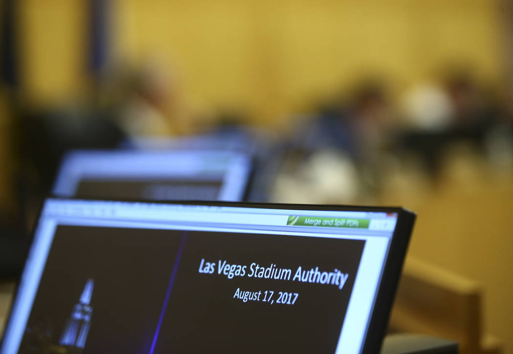 The Las Vegas Stadium Authority board meets at the Clark County Government Center in Las Vegas on Thursday, Aug. 17, 2017. Chase Stevens Las Vegas Review-Journal @csstevensphoto