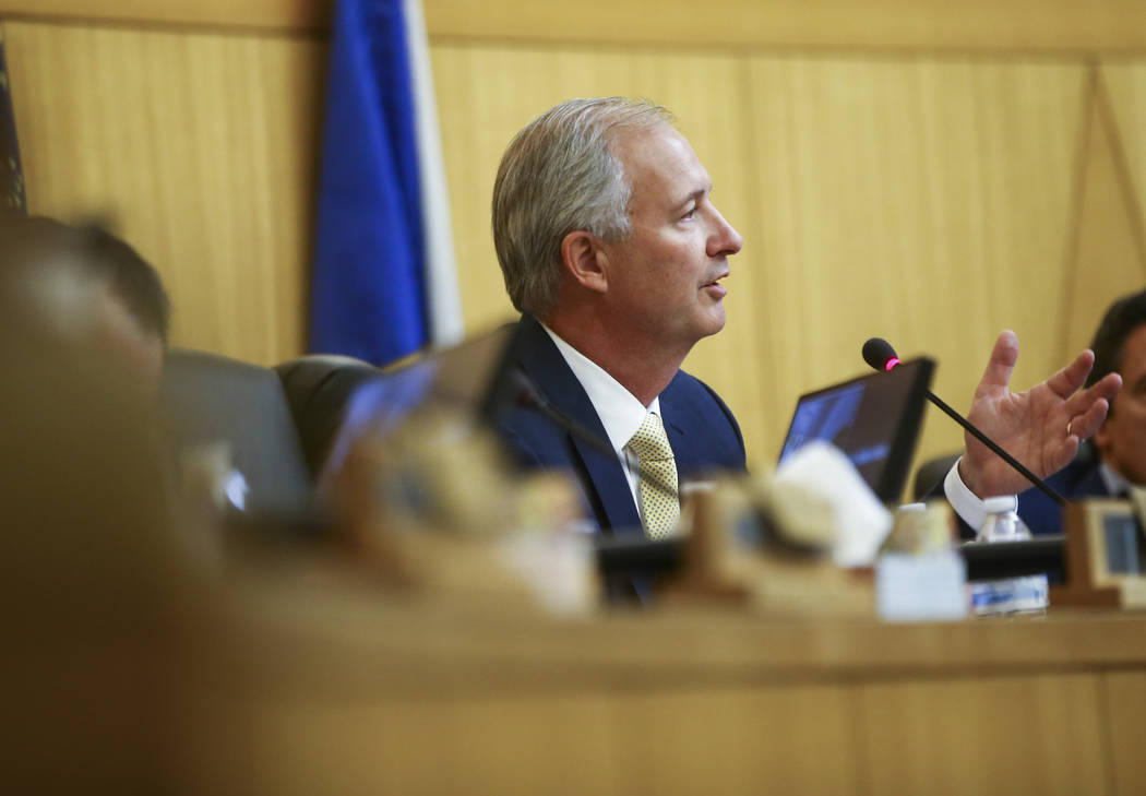 Las Vegas Stadium Authority Chairman Steve Hill during a board meeting at the Clark County Government Center in Las Vegas on Thursday, Aug. 17, 2017. Chase Stevens Las Vegas Review-Journal @csstev ...